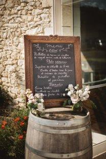 Chalkboard signage displayed on old wine barrel