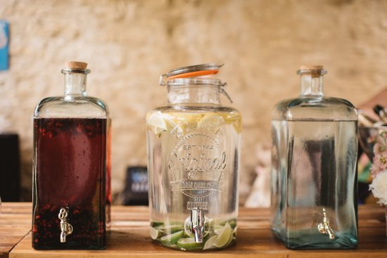 Soft drinks in oversized Kilner style jars