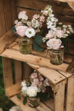Stacked crates with florals